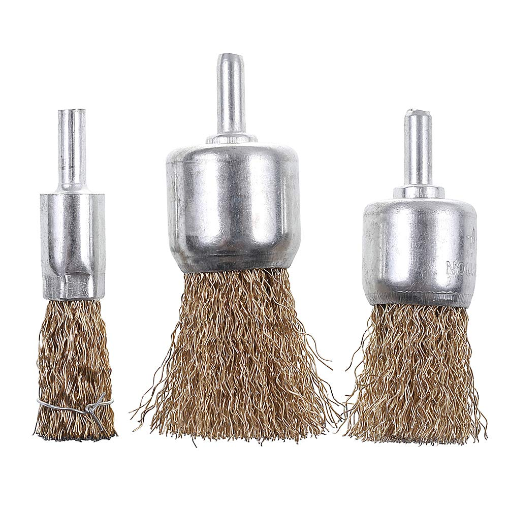 15 Pack Brass Coated Wire Brush Wheel /& Cup Brush Set with 1//4-Inch Shank Rocaris 3 Sizes Coated Wire Drill Brush Set Perfect For Removal of Rust//Corrosion//Paint