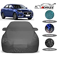 DRIZE™ Swift Dzire Car Cover Waterproof with Triple Stitched Fully Elastic Ultra Surface Body Protection (Grey Look)