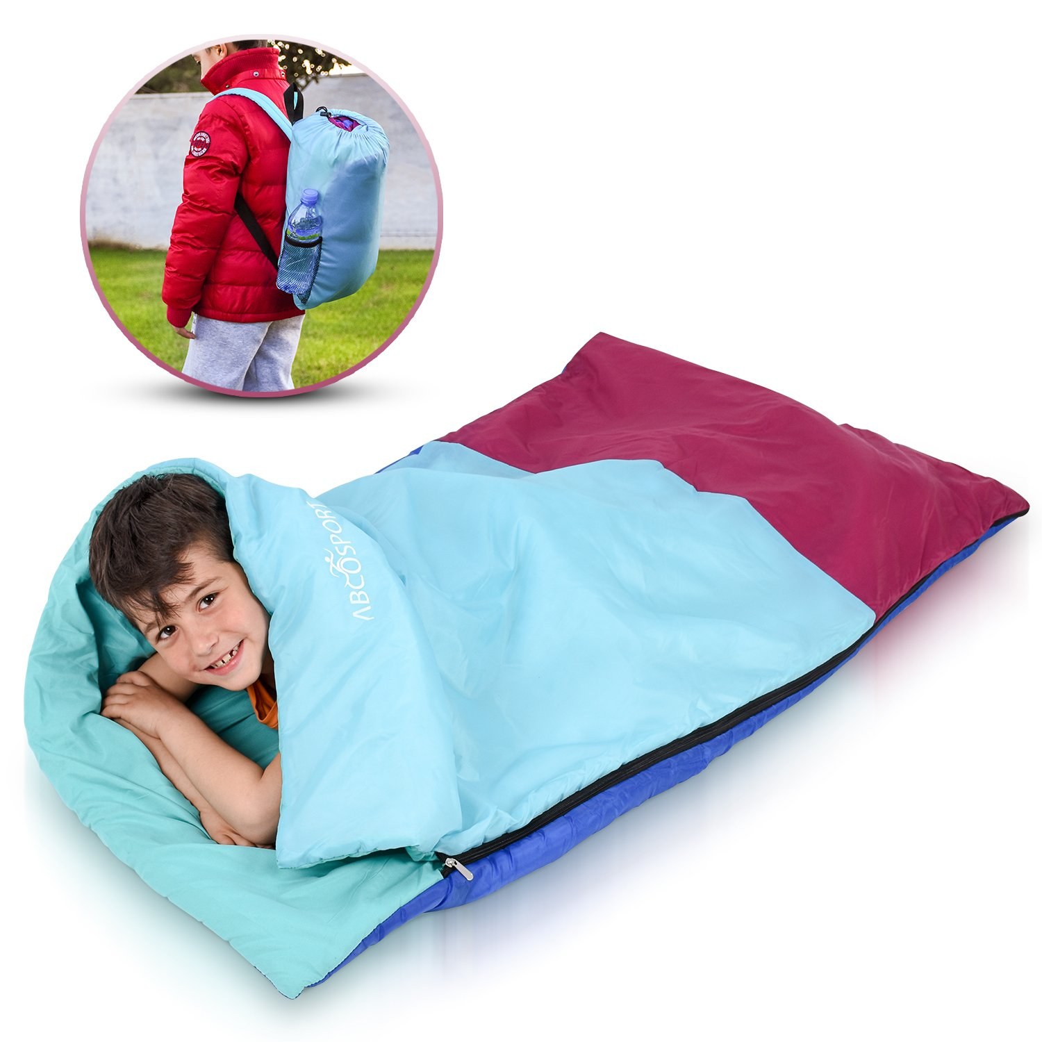 Abco Tech Kids or Children's Junior Sleeping Bags – Polyester Ultralight Sleeping Bag for Camping & Hiking – Withstands Extreme Temp. of 32-60°F – Includes Backpack for Storage & Carrying by Abco Tech