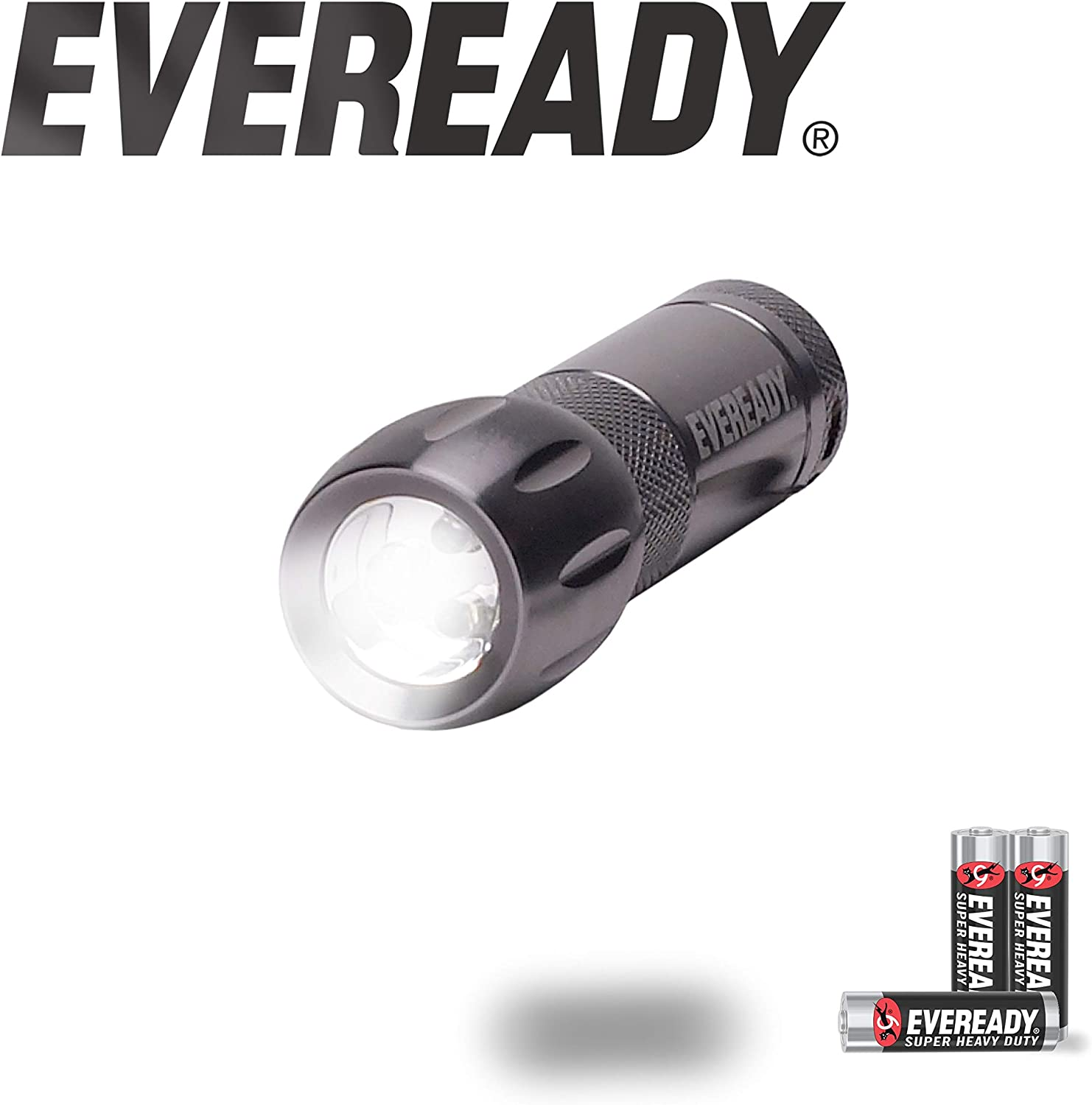 Eveready Compact LED Metal Flashlight Water Resistant 21 Lumens Includes 3 Super Heavy Duty AAA Batteries Black