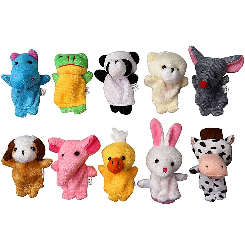 10Pcs Farm Animal Finger Puppets Plush Doll Baby Educational Hand PUZ Cute Toy-S