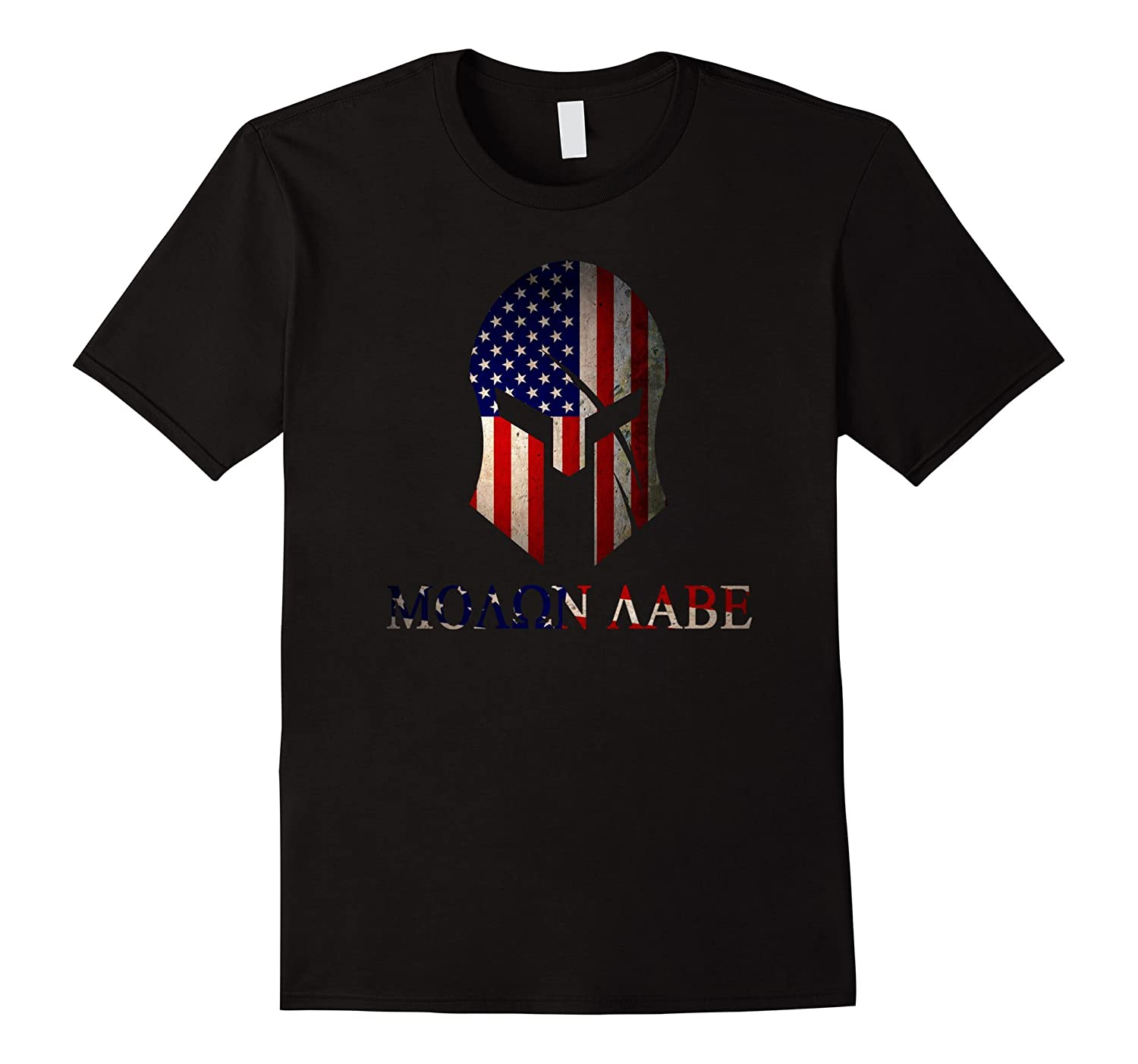 American Spartan Warrior Molon Labe Flag T-Shirt-BN