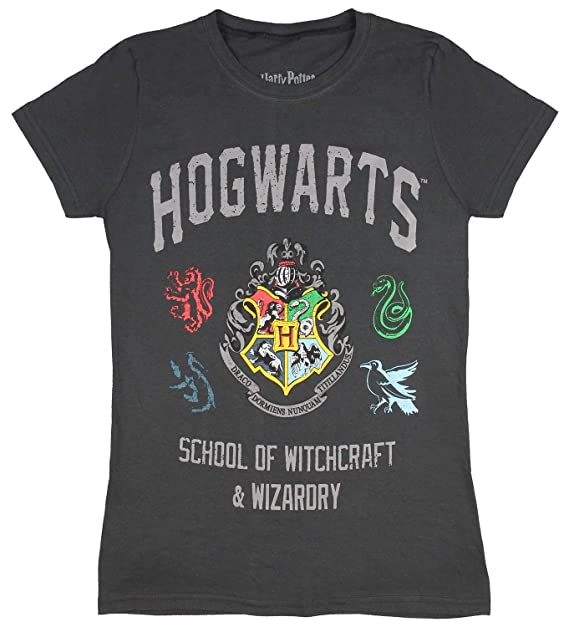 24a89883d811 Harry Potter Juniors Distressed Hogwarts School of Wizardry and Witchcraft  House Crest Banner T-Shirt