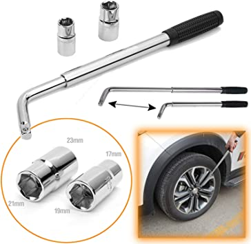 17mm//19mm;21mm//23mm for Car Vehicle Auto Tire Tool NovelBee Detachable 4-Way Cross Lug Wrench with Storage Bag and Standard Sockets