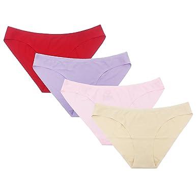 be3a259734f02f SHEKINI Damen Nahtlos Unterwäsche Ultra Soft Panties Slip Höschen Unterhose  Hipster Kurze Hose Unterhöschen 4er Paket