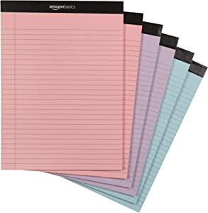 AmazonBasics Legal Pads, Pink, Orchid & Blue Color Paper, 6-Pack