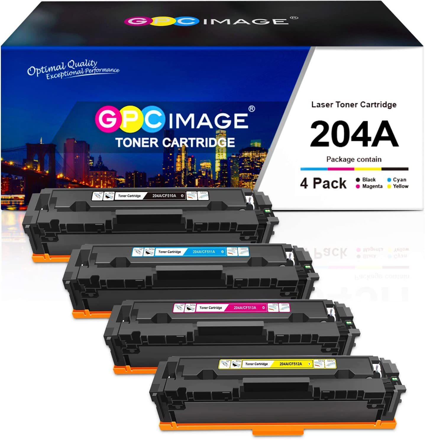 GPC Image Compatible Toner Cartridge Replacement for HP 204A 204 A CF510A CF511A CF512A CF513A to use with Color Laserjet Pro MFP M180nw M154nw M180n M154a MFP M181fw Printer (4 Pack)