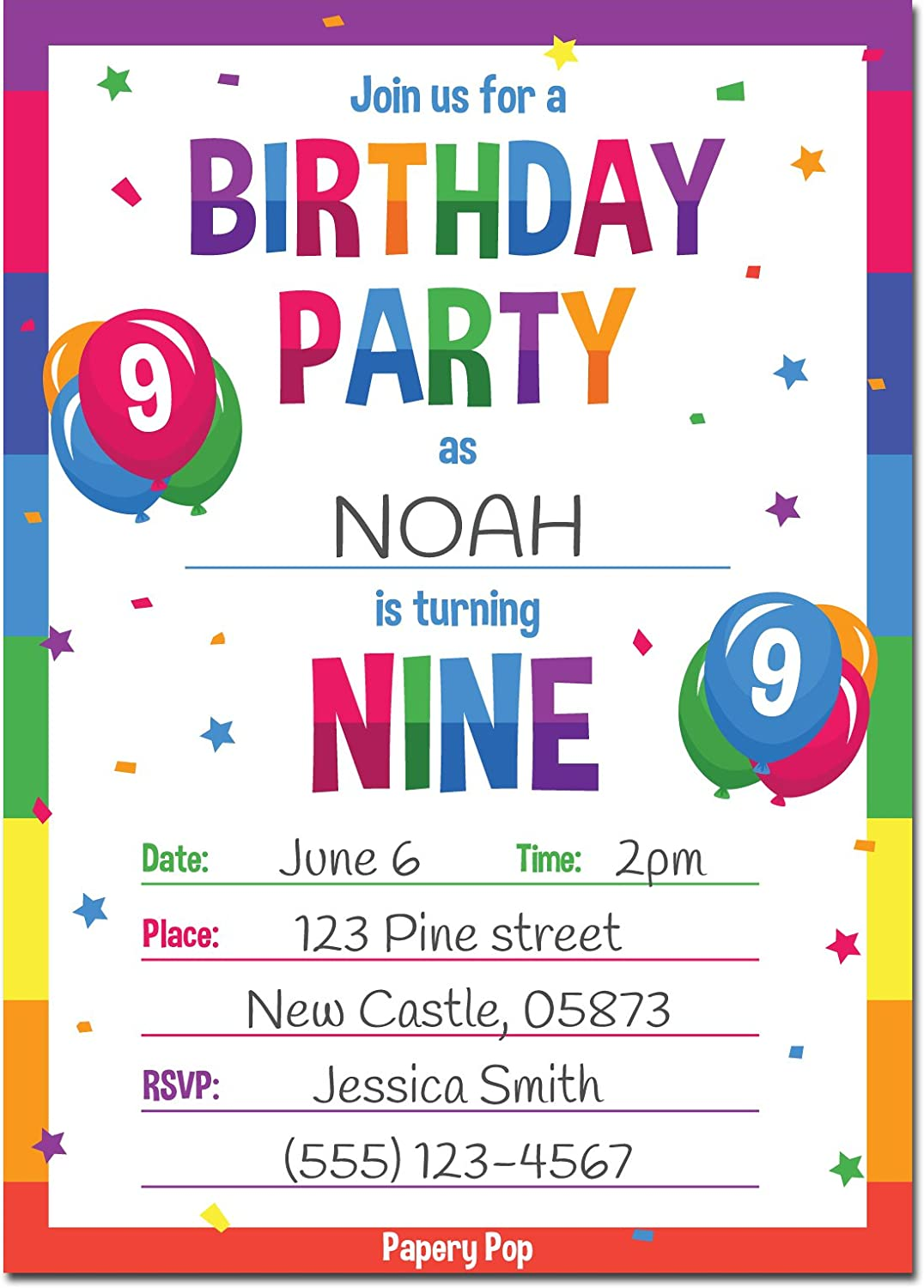 Papery Pop 9th Birthday Party Invitations With Envelopes 15 Count 9 Year Old Kids Birthday Invitations For Boys Or Girls Rainbow