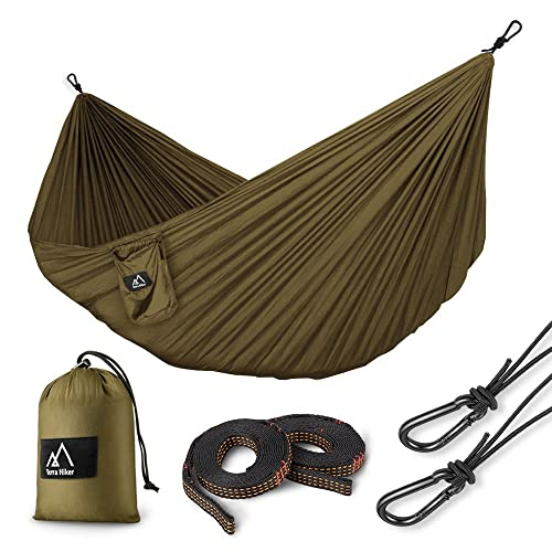 Terra Hiker Camping Hammock with Hammock Straps & Steel Carabiners Lightweight Portable Hammock for Backpacking, Travel, Beach, Yard for 1 Person