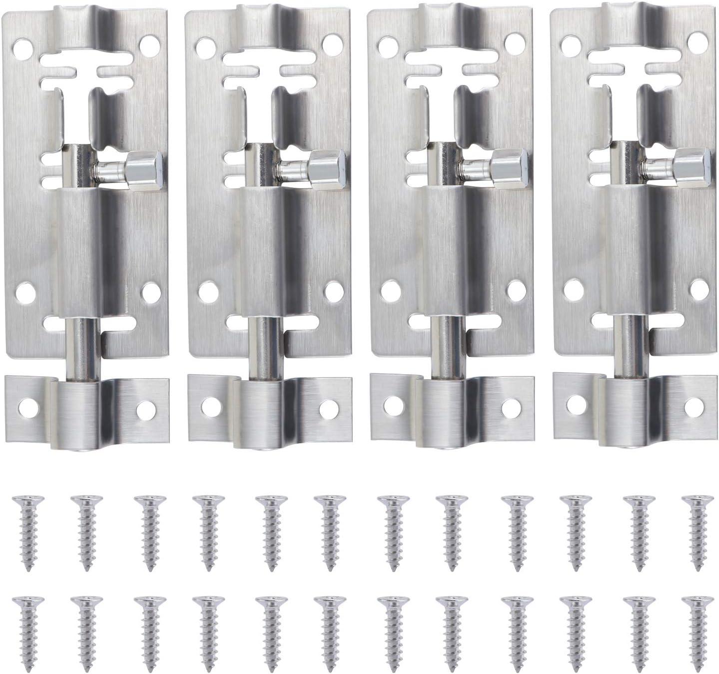 abri de WC HSEAMALL 4 PCS 3 Inch 7.6 cm verrous de porte coulissants en acier inoxydable avec vis pour salle de bain