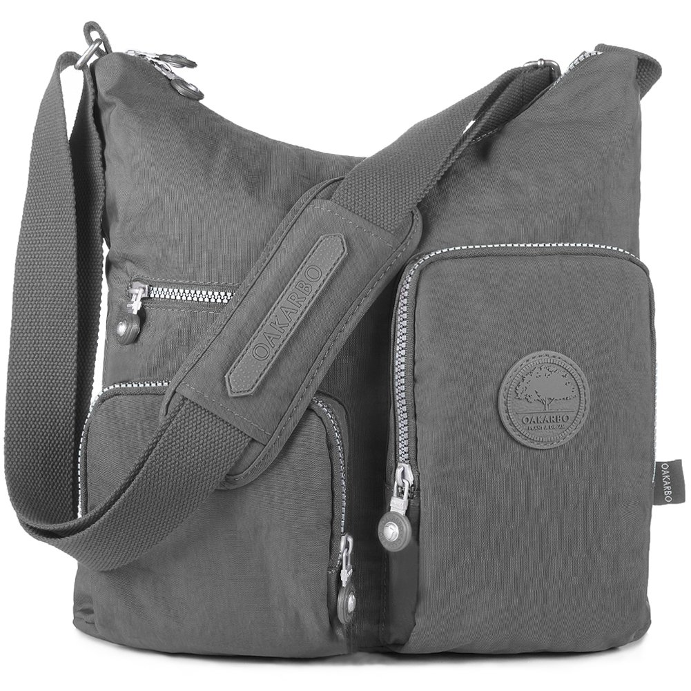 Oakarbo Crossbody Bag Nylon Multi-Pocket Travel Shoulder Bag (1204 Cool gray, Large)