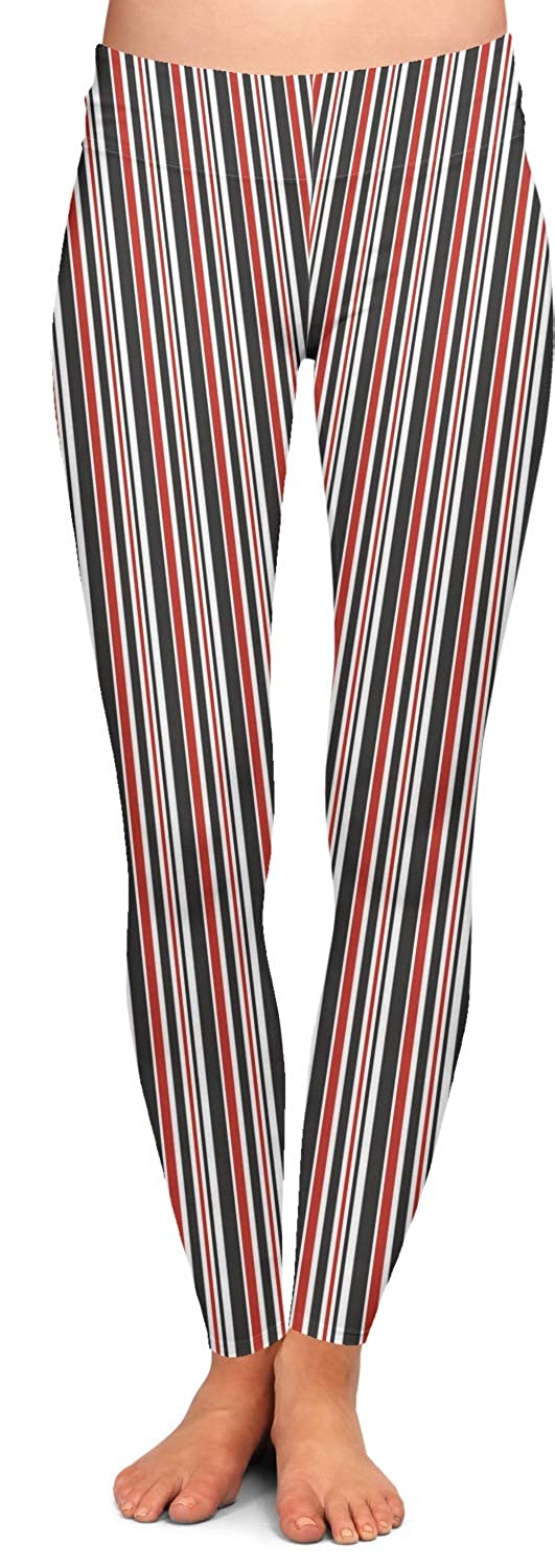 Personalized RNK Shops Red /& Black Dots /& Stripes Ladies Leggings