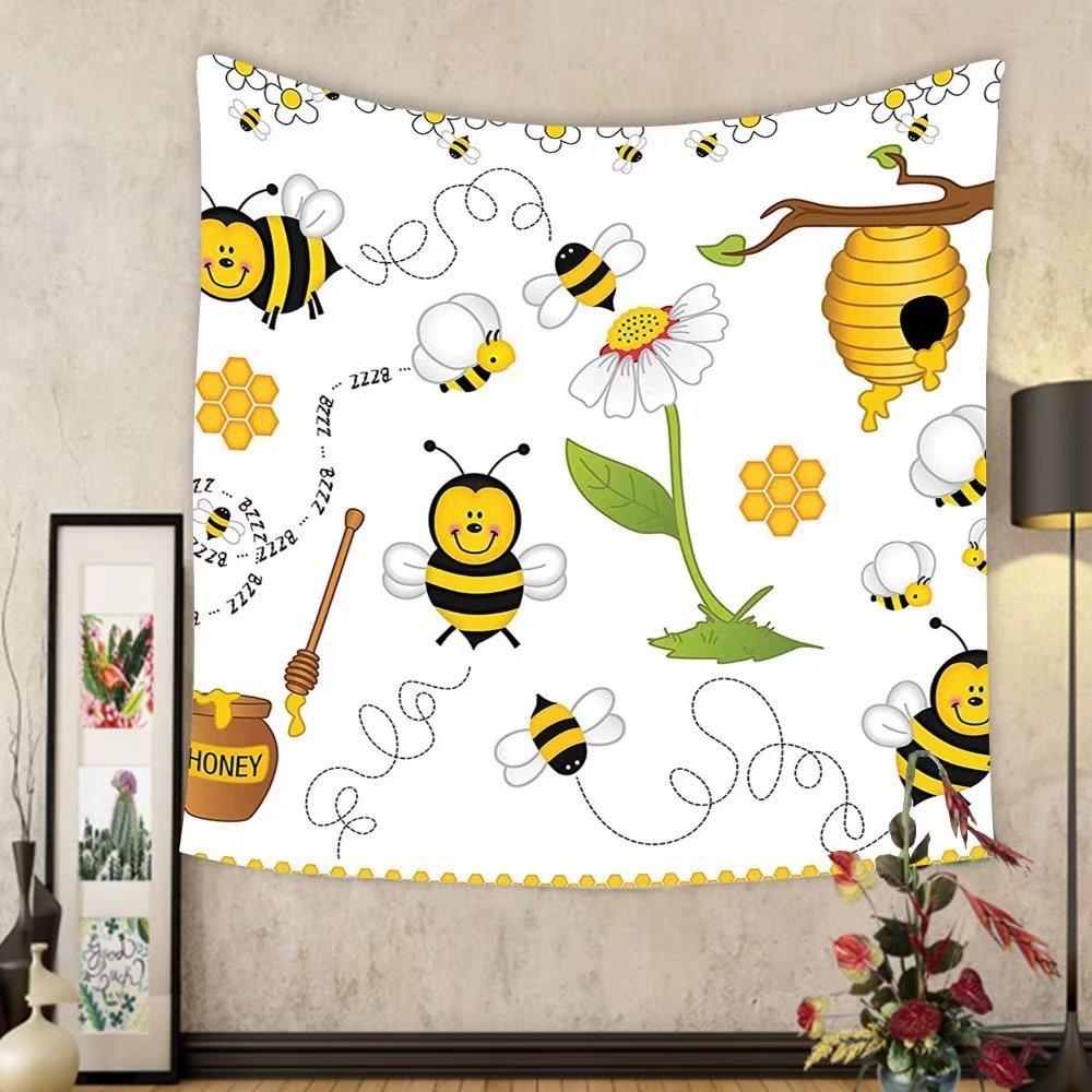 Gzhihine Custom tapestry Collage Decor Tapestry Flying Bees Daisy Honey Chamomile Flowers Pollen Spring Themed Animal Print for Bedroom Living Room Dorm Yellow White