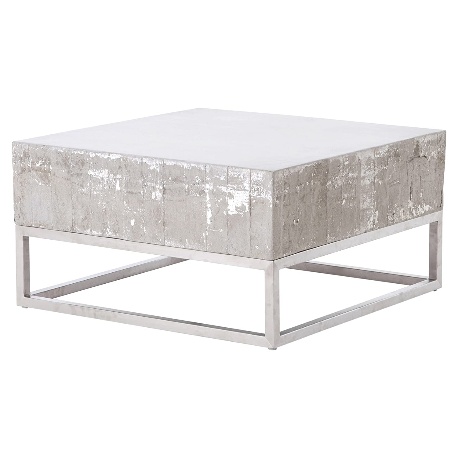 Attrayant Amazon.com: Kathy Kuo Home Maximus Concrete Chrome Distressed Square Block Coffee  Table: Kitchen U0026 Dining