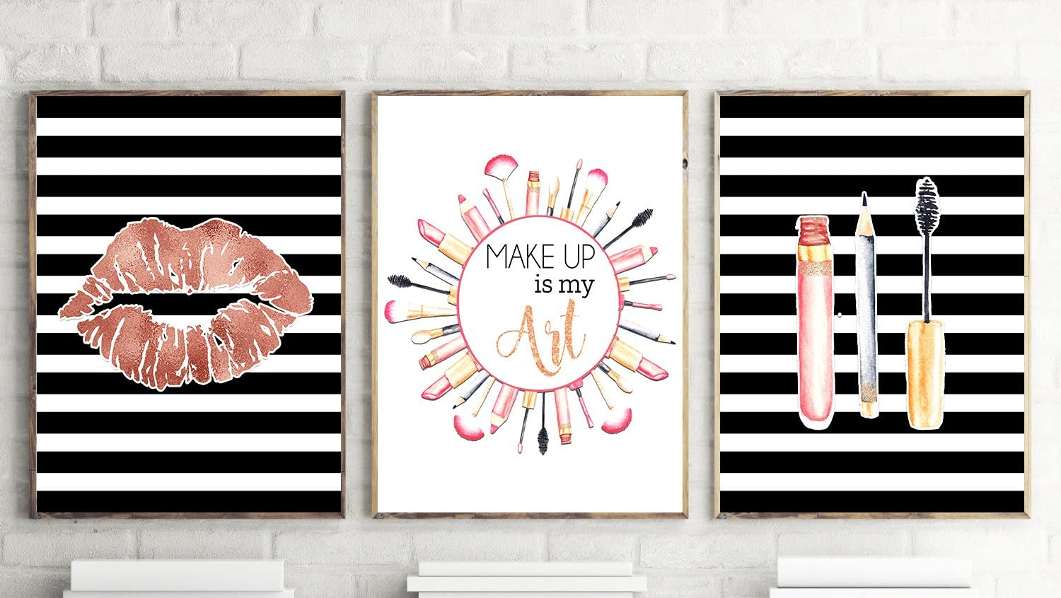 Silly Goose Gifts Make Up is My Art - Room Wall Art Prints (Set of Three) 8x10in