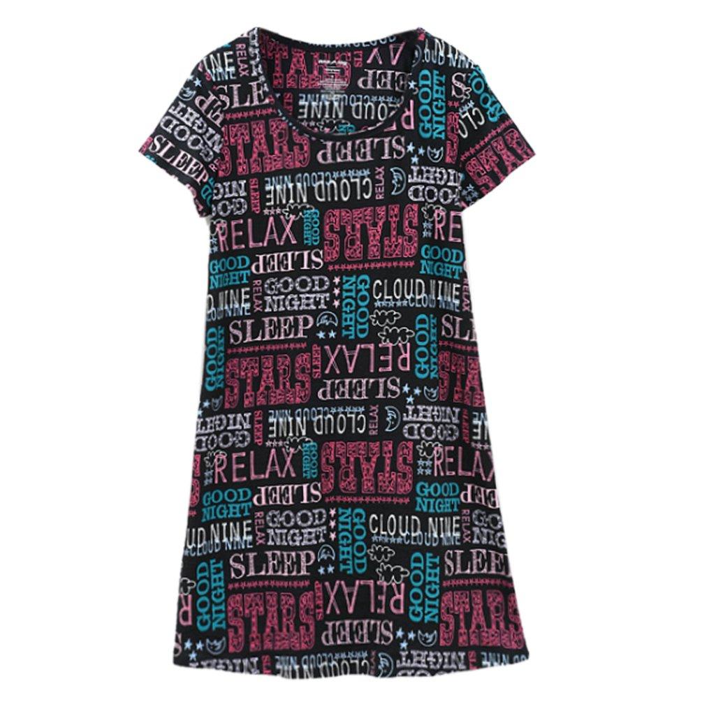 ENJOYNIGHT Women\'s Sleepwear Cotton Sleep Tee Short Sleeves Print Sleepshirt (Small, Letter)