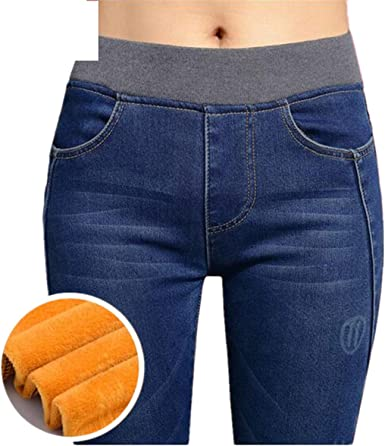 Amazon Com Pantalones Vaqueros Para Mujer De Forro Polar Gruesos Finos De Cintura Alta Pantalones P8035 Clothing