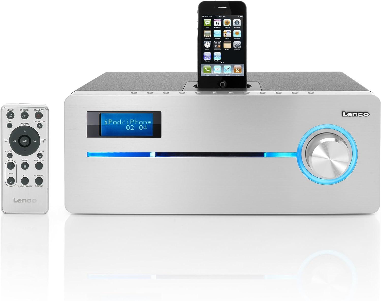 Lenco iPD-9000 Dockingstation f/ür Apple iPod//iPhone Aluminium//Silber PLL//UKW-Radio, CD//MP3, Simple RDS