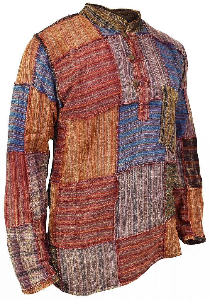 Little Kathmandu Hombres Algod/ón Patch Grandad Verano Hippie Kurta Camisa