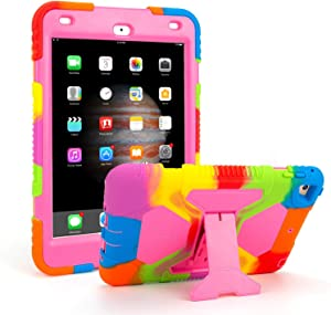 iPad Mini 4 Case ACEGUARDER Full Body Protective Premium Soft Silicone Cover with Adjustable Kickstand (Colorful Pink)