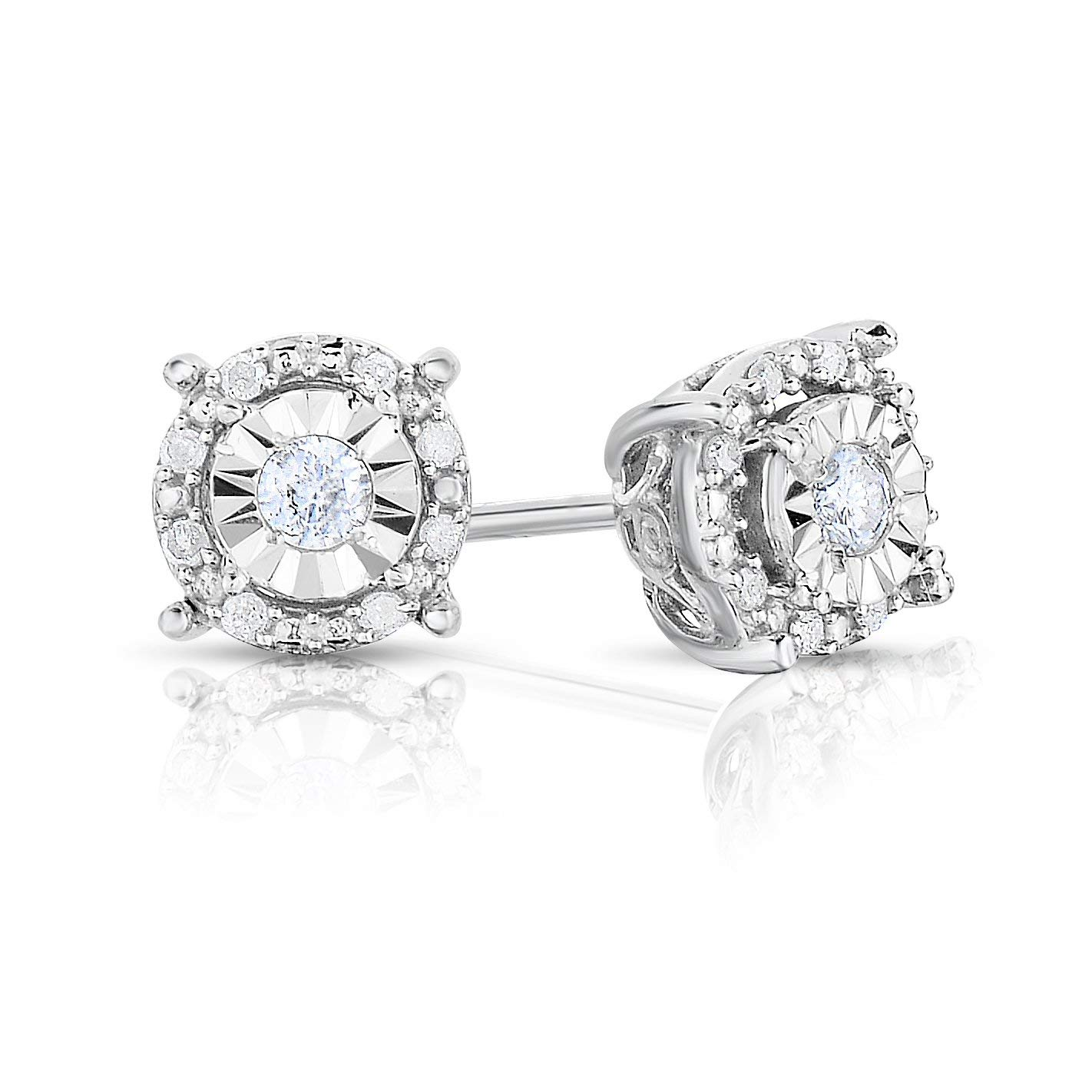 Sterling Silver 1/4CTW HALO Genuine Brilliant Round Pair of Diamond Earrings (Brilliant Round White)
