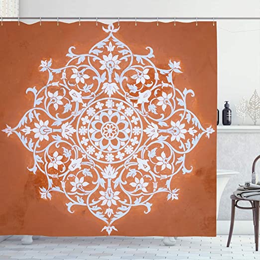 Circle Pattern Polyester Bathroom Waterproof Shower Curtains Y