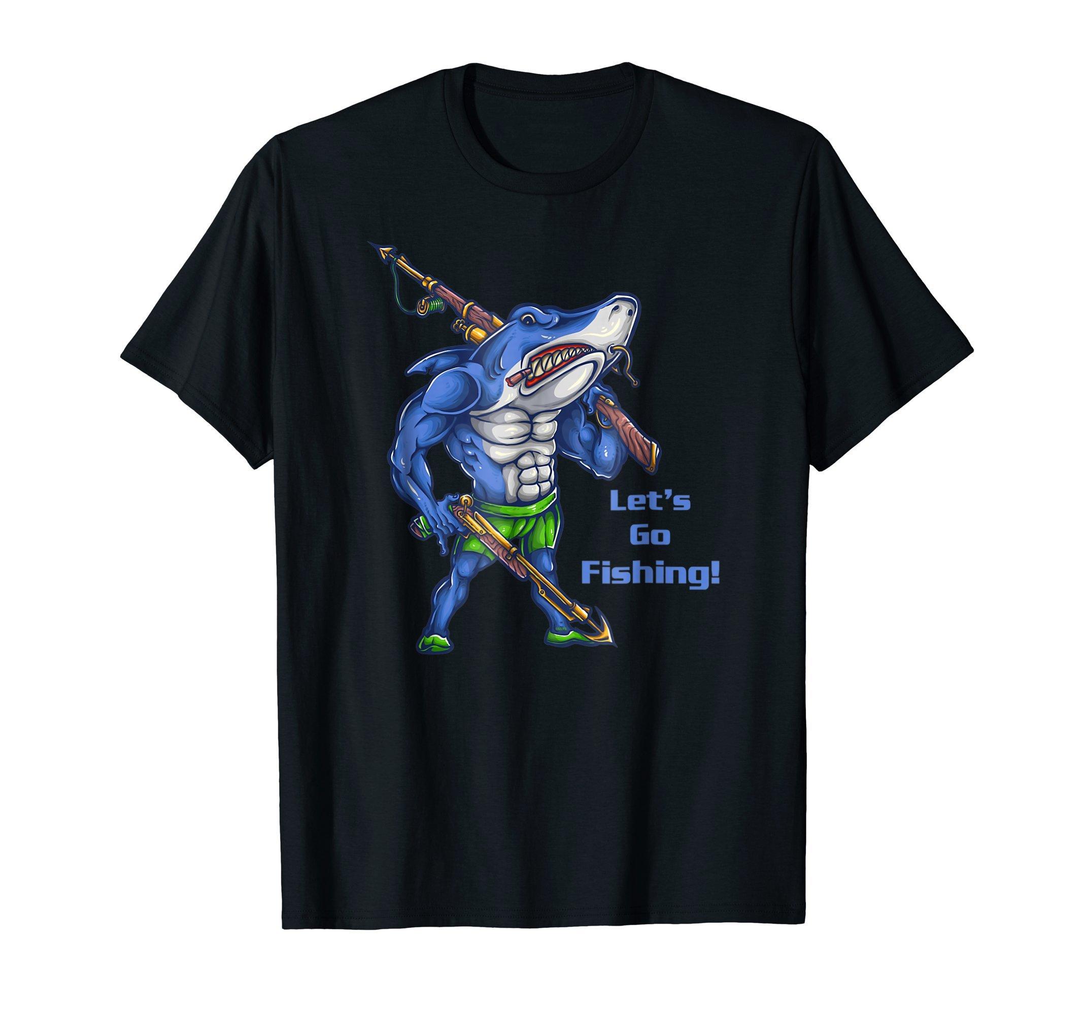 Lets-go-fishing-Shark-Funny-Humor-T-Shirt-Shirt-Tee-Gift