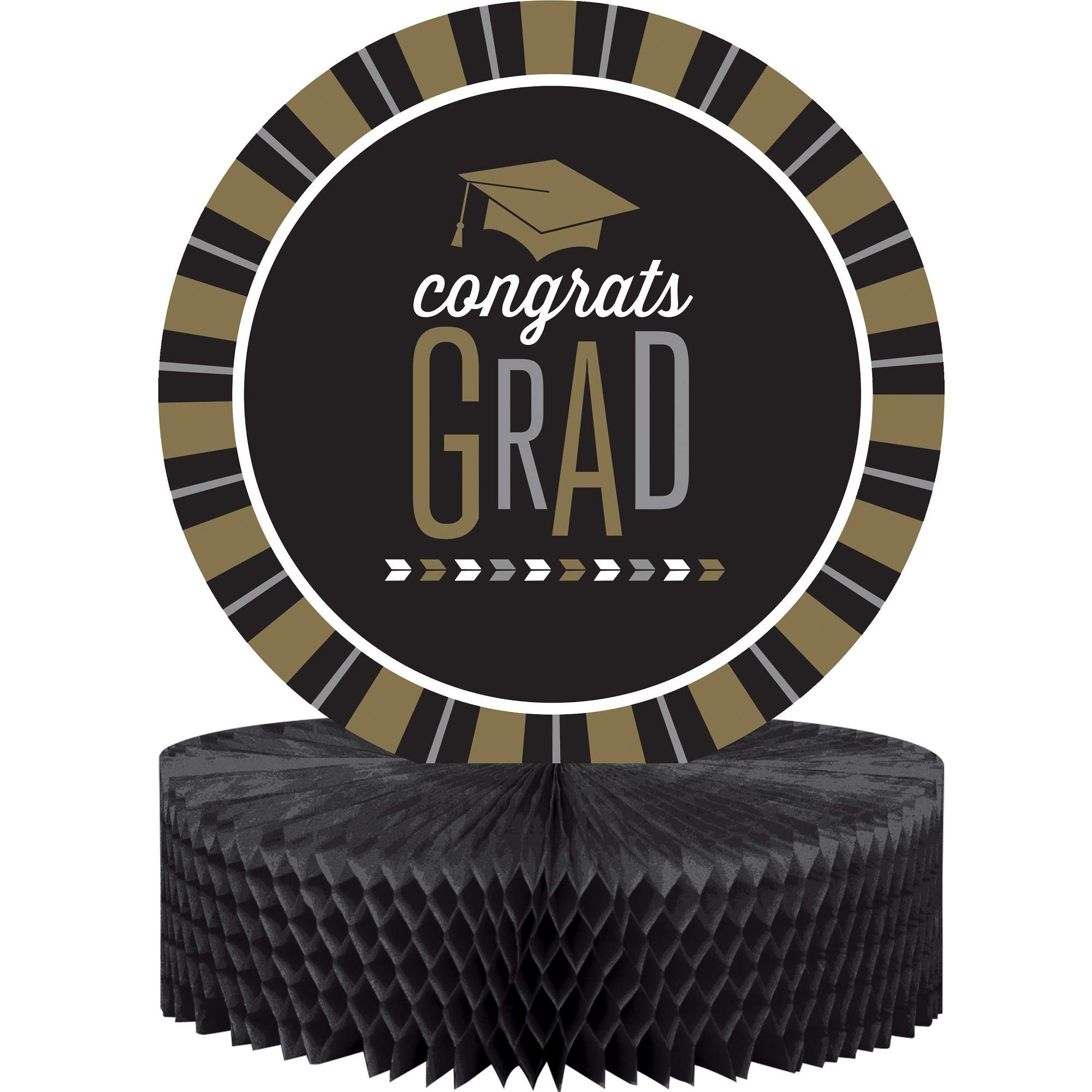 Pack of 12 Black and Brown Congrats Grad Honeycomb Party Centerpiece 13.5''