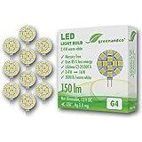 Pack of 10 greenandco® G4 LED Bulbs 2.4W / 150lm / 3000K (warm white) / 12 x 5050 SMD LED / 120° beam angle / 12V DC