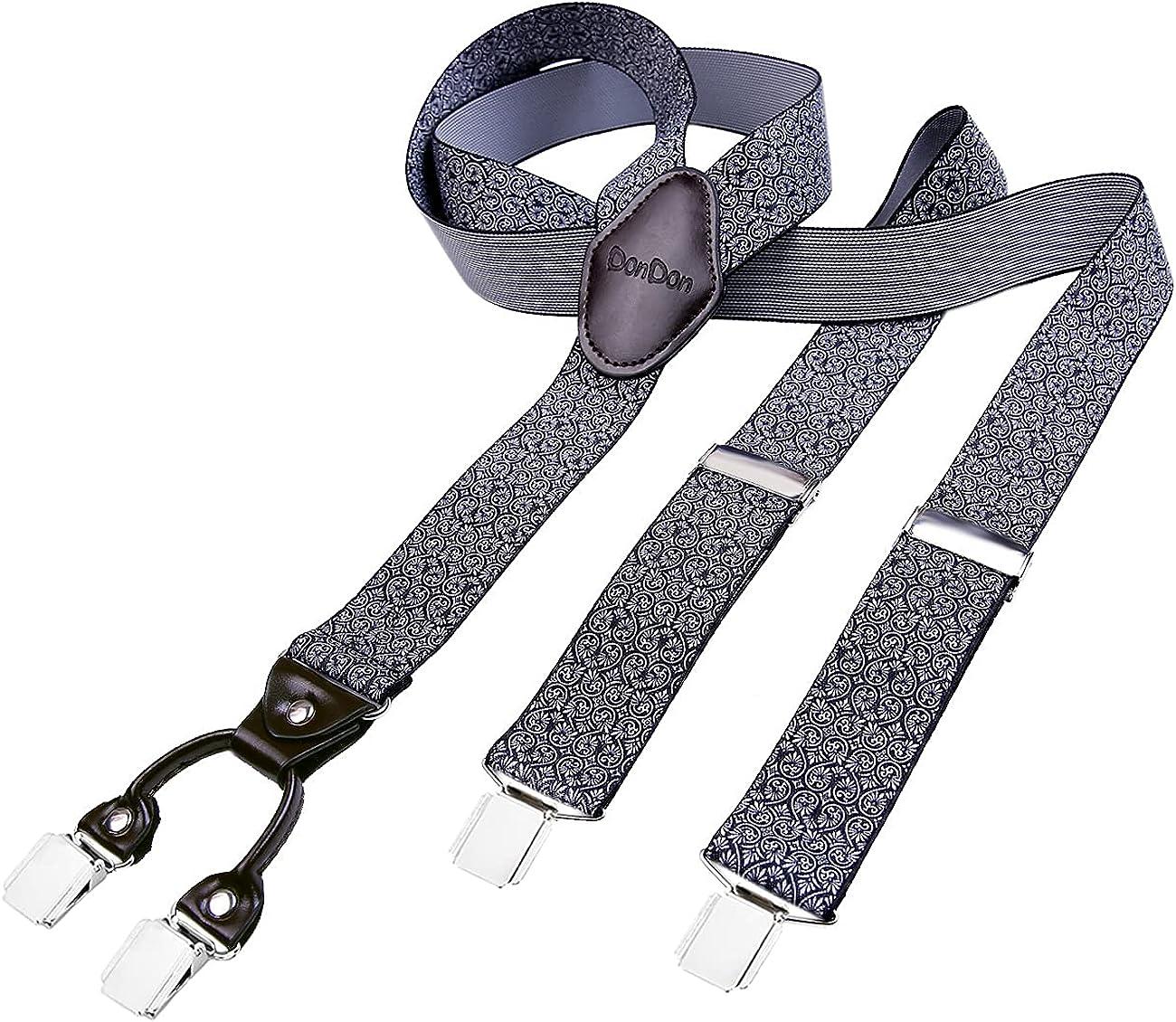 DonDon tirantes 3,8 cm de ancho para hombres con 3x clips extrafuerte en forma de Y - elástico y longitud ajustable