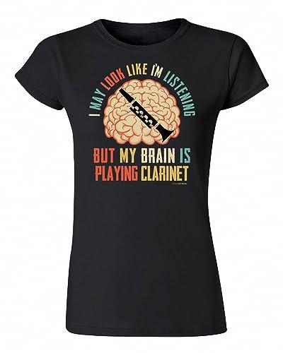 T-Shirt Donna Maglietta I May Look Like Im Listening BUT My Brain is Playing CLARINET Musica Strumen...