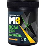 MuscleBlaze BCAA 6000 Amino Acid Powder (Tangy Orange, 0.44 lbs/200g, 25 Servings)