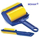 MOHAK Lint Roller with Cover,Reusable Washable Travel Dust Picker Cleaner Remover Brush Value Set for Clothes Pet Hair Debris - Blue, Yellow