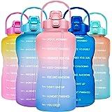 Venture Pal Large 1 Gallon/128oz Motivational Water Bottle with Time Marker & Straw,Leakproof Tritan BPA Free Water Jug,Ensur