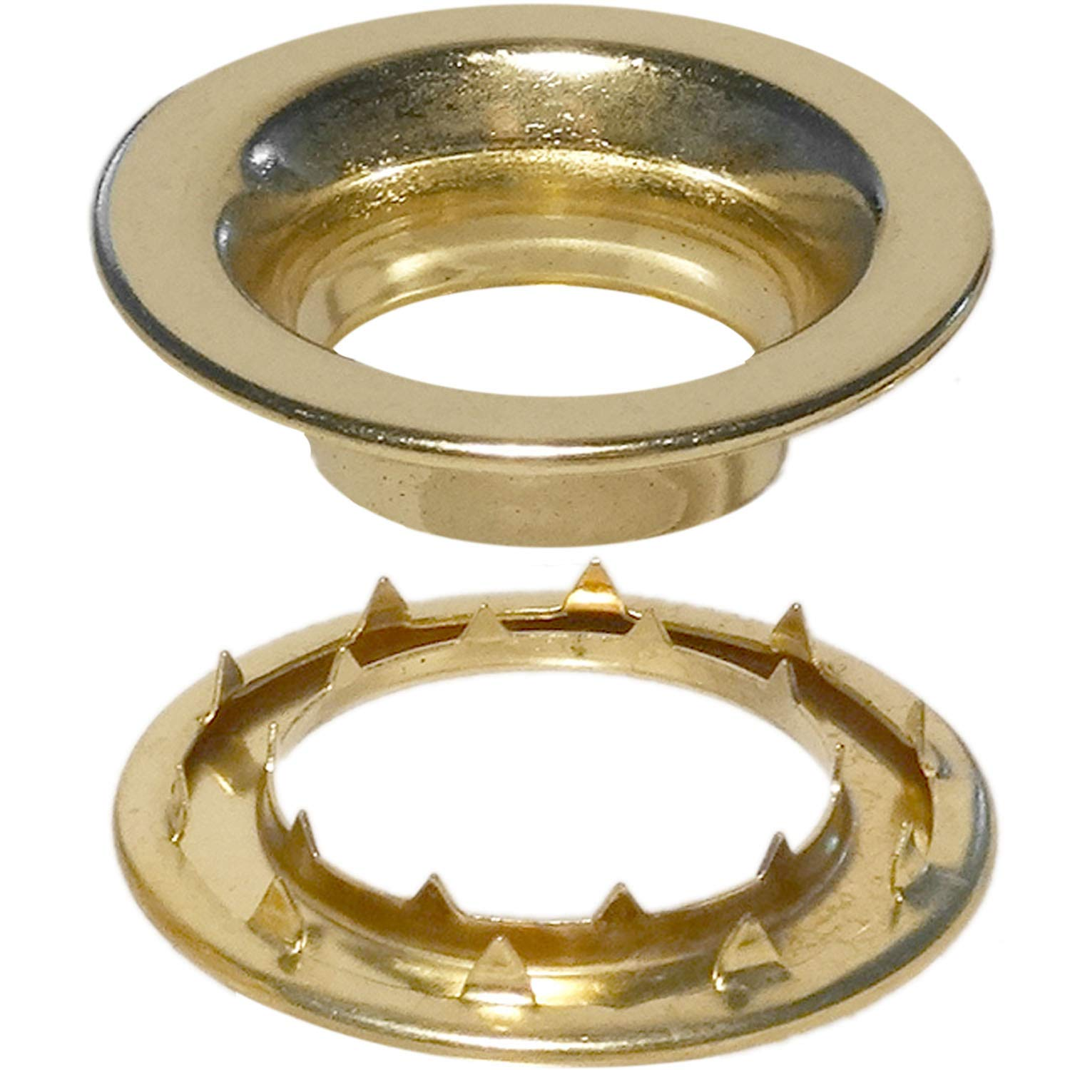 Stimpson Rolled Rim Grommet and Spur Washer Brass Durable, Reliable, Heavy-Duty #8 Set (25 Pieces of Each) Stimpson Co. Inc.