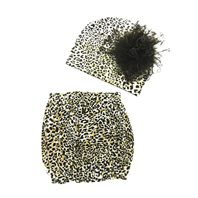Leopard Animal Prints Pipette Sets with Brown Large Curly Marabou, Size: 12-18m