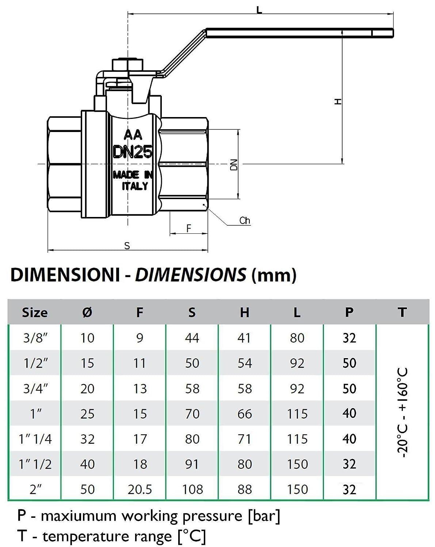 1 Zoll fxf Wasserhebel Art Kugelventil Vierteldrehung f/ür viele Installationen