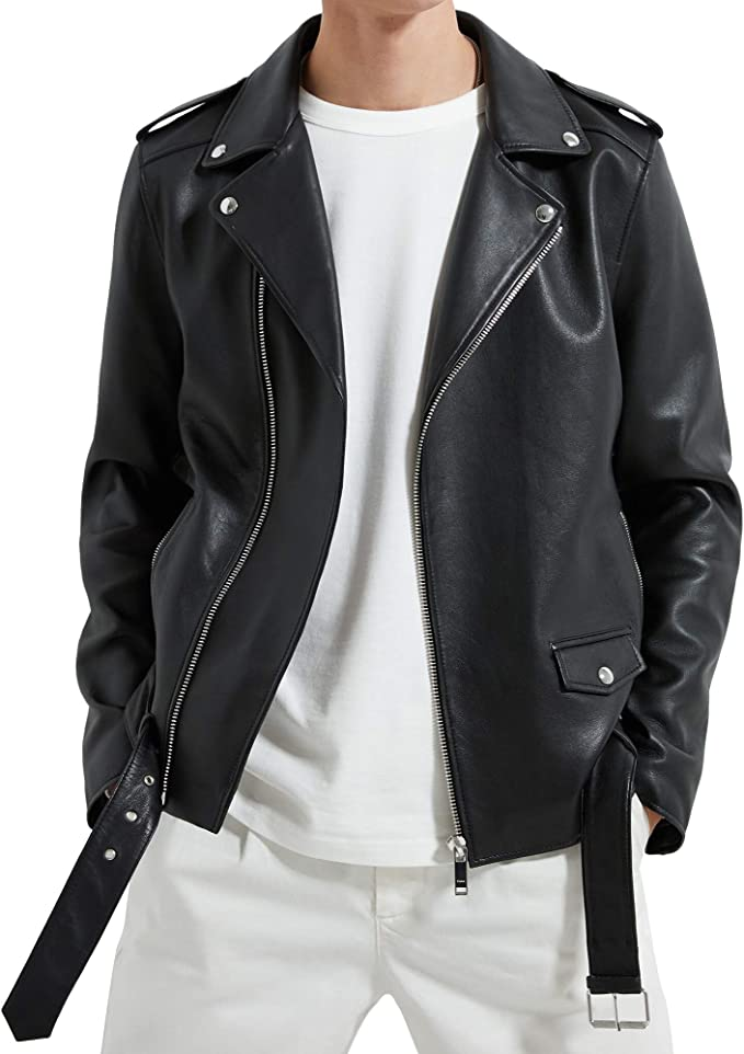 Zara 0706/366/800 - Chaqueta de Piel para Hombre - Negro - X-Large ...