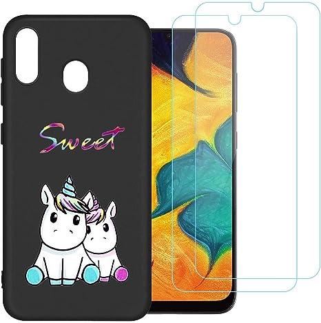 Coque pour Samsung Galaxy A20E 2019,Couple, Licorne Souple Silicone TPU Housse Étui de Protection pour Samsung Galaxy A20E 2019 (5,84