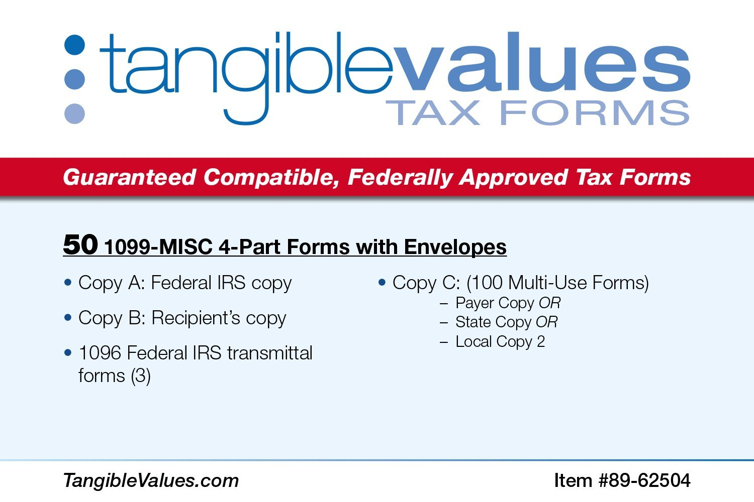 Amazon tangible values 1099 misc laser forms 4 part kit amazon tangible values 1099 misc laser forms 4 part kit with env for 50 vendors 3 form 1096s 2017 tax forms office products falaconquin