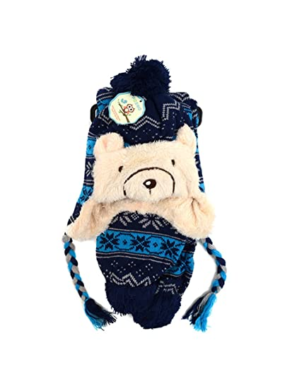 85b35def Amazon.com: Warm & Plush Bear Animal Trapper Hat Scarf Winter Set for Boys  and Girls: Clothing