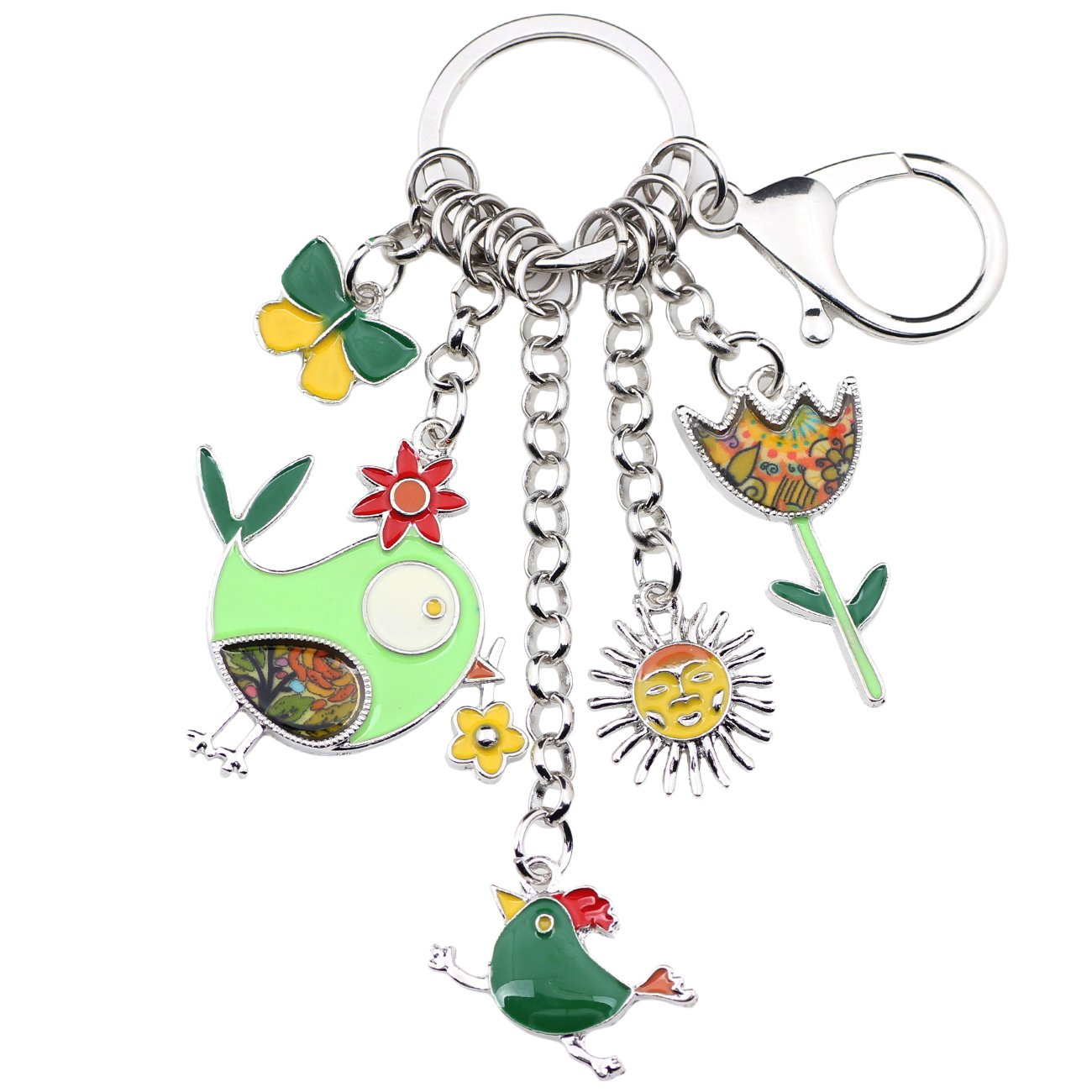 Bonsny Enamel Zinc Alloy Birds Flower Butterfly Key Chains Keyrings For Women Handbag Car Key Charms (Green)