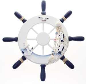 "Nautical Wooden Ship Wheel 12"" Pirate Décor- Ships Wheel for Home, Boats, and Wall Hanging Decorative Boat Accessory for Bedroom/Kids Room/Bathroom/Guest Room - Helm Steering"