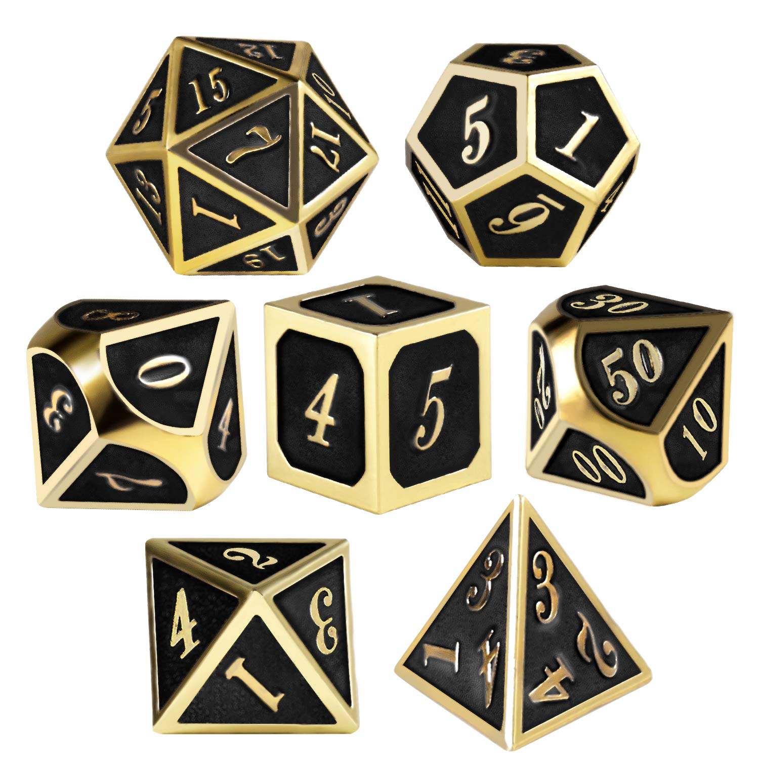 QMAY Metal Dices Set, 7 Pieces Metal D&D Dice Role Playing Dice for Dungeons and Dragons RPG Games & Pathfinder Shadowrun - with Metal Box, Velvet Bag and 2 Pencils(Black Gold)