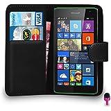 Microsoft Lumia 535 - Premium Leather BLACK Wallet Flip Case Cover Pouch PINK Dust Stopper