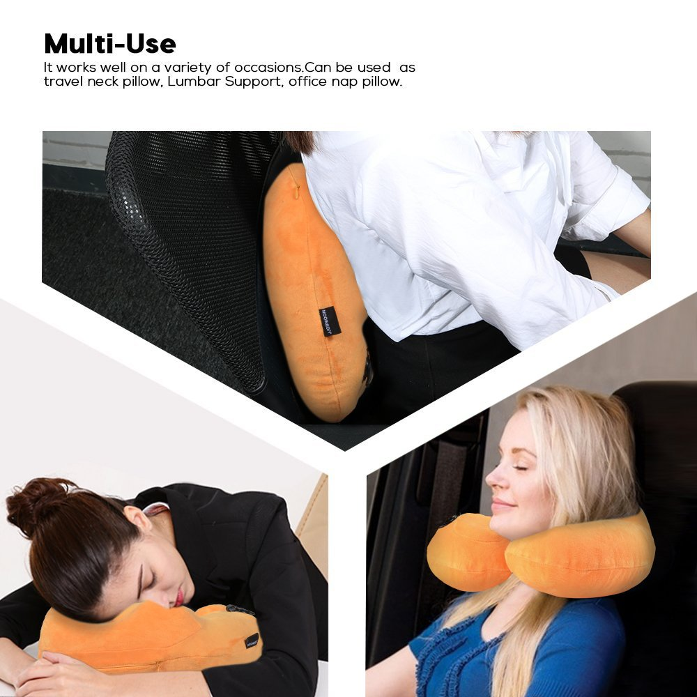 office nap pillow. Amazon.com: Emasun Inflatable Travel Pillow,U Shaped Neck Cervical Head Pillow, Soft Velvet Pillow For Airplanes,Train, Office Nap C