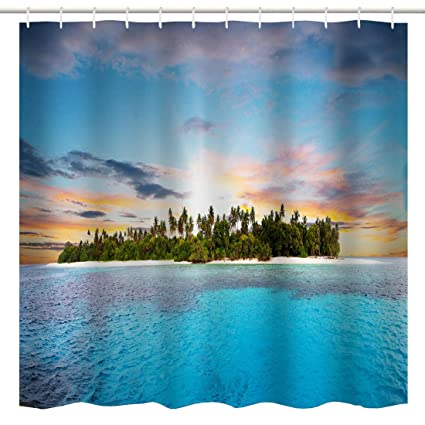BROSHAN Tropical Shower CurtainBlue Ocean Hawaiian Island Palm Tree Nature Seascape Art Print Bath