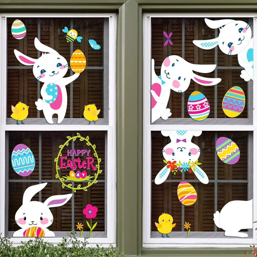 D-FantiX Easter Window Clings Decorations 85Pcs 12 Sheet Large Easter Stickers Egg Bunny Basket Carrot Easter Decals for Glass Windows Door Refrigerator