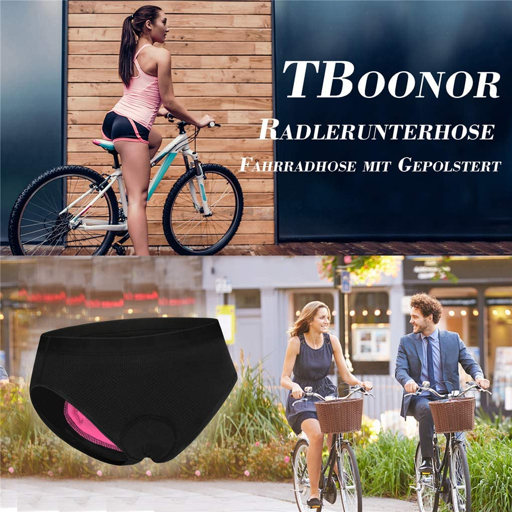 TBoonor Womens Padded Cycling Shorts with 4D Gel Pad Seat Pad Breathable Quick-Drying Cycling Underwear for Cycling MTB