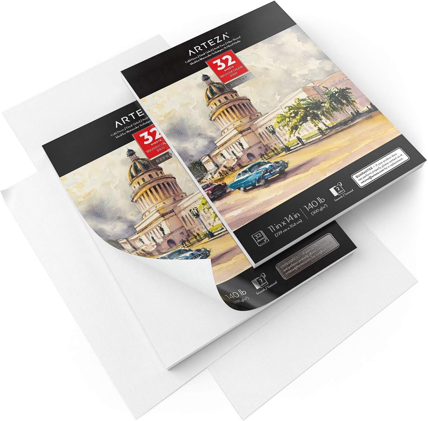 27,9x35,6 cm Arteza Cuadernos de papel acuarela para expertos, sin /ácido 300 gsm 2 blocs encolados de 32 hojas ideales para t/écnicas de acuarela y medios mixtos papel prensado en fr/ío total 64